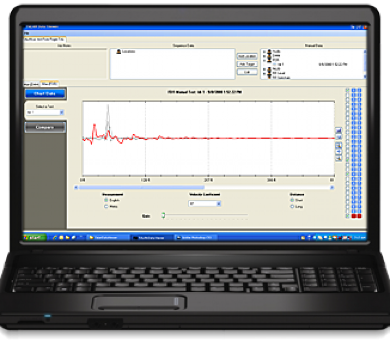 Telephone and Line Analyzer Data Viewer on Laptop Image