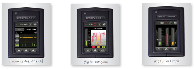 ORION 2.4-HX frequency adjust, histogram, and bar graph display screens